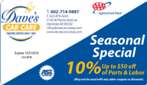 Dave's Car Care Auto Repair Coupon Special Discount